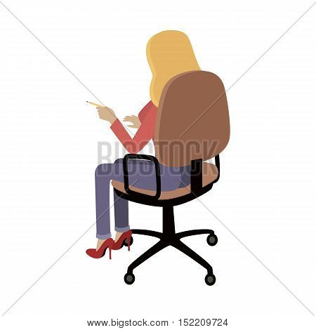 Woman sitting on the chair and pointing on something by finger. Back view. Women at work. Endless work seven days a week. Working moments. Part of series of work at the office. Vector illustration