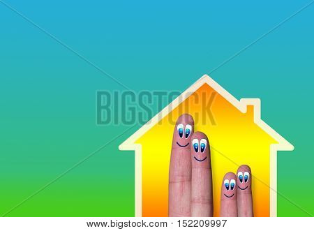 House With Light And Very Cute Family Of Finger