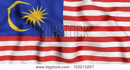3d rendering of a Malaysia flag waving