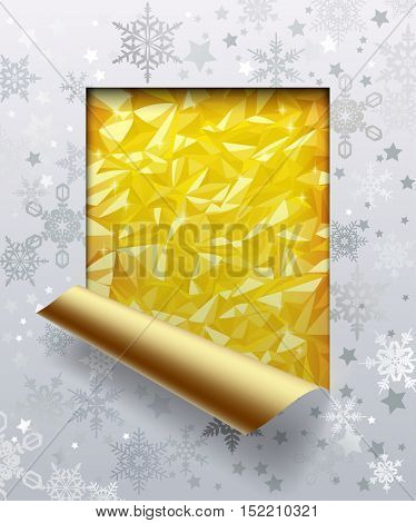 Christmas & New-Year's greeting cut framed and partially rolled up card with silver snowflakes and gold foil background.