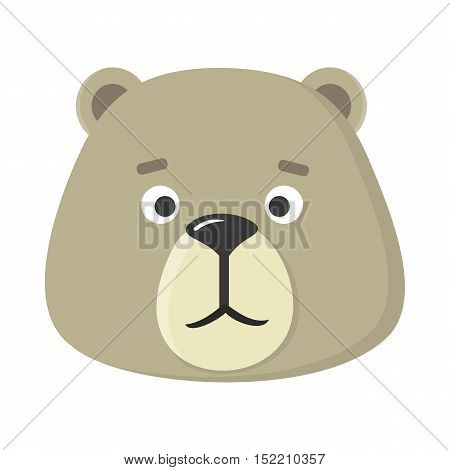 Teddy bear mask isolated on white. Cartoon mask of a cute animal to celebrate happy events at kindergarten, preschool, birthday, children holiday festival. Sticker for toddler. Vector in flat style