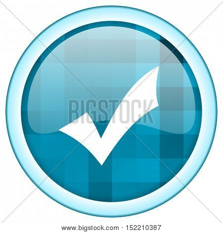 Blue circle vector vote icon. Round internet glossy button. Webdesign graphic element.
