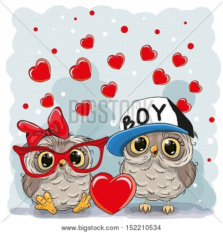 Two Cute Owls with heart on a hearts background