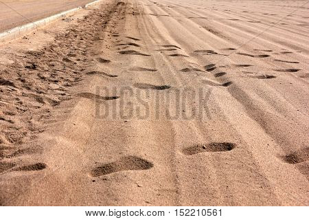 footprints on the checkpoint on the border strip in the desert