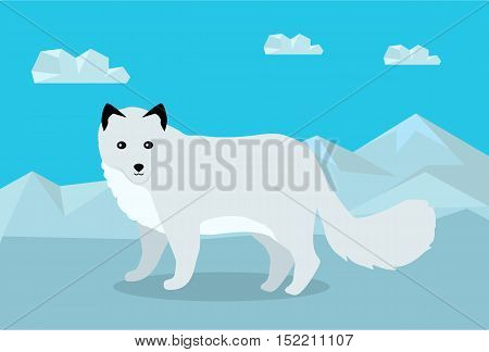 Polar fox on snowy mountains background. Flat style vector. Wild predatory animal. North fauna species in habitat. For nature concepts, children's books illustrating, printing materials