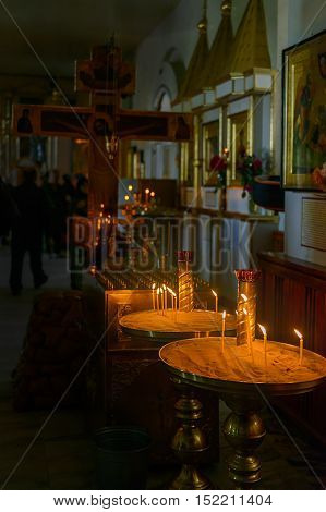 September 12, 2015: Photo of a few candles in Church of the New Martyrs and Confessors . Cheboksary. Russia.