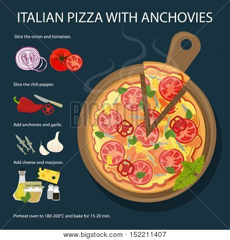 Pizza with anchovies recipe. Fresh and delicious pizza with tomatoes, anchovies and onion. Italian cuisine.