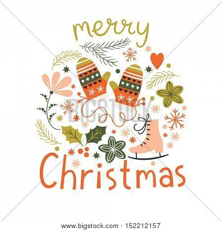 Christmas Mittens, greeting Christmas card