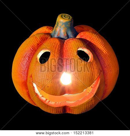 hollowed-out pumpkin as a symbol of Halloween on a black background