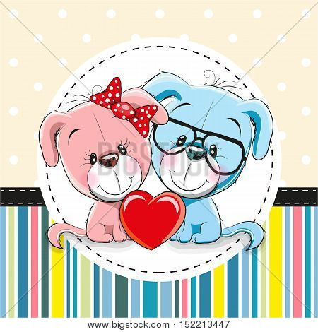 Greeting card with Two cute Cartoon Dogs
