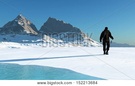 Climber ascends ea vershishu mountains.,3d render