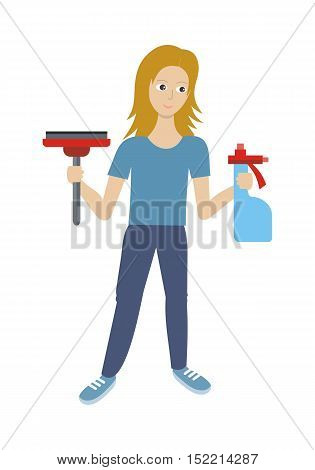 Cleaning service conceptual vector web banner. Flat style. Smiling woman with sprayer and wiper. Illustration with play button for housekeeping online services, sites, video, corporate animation