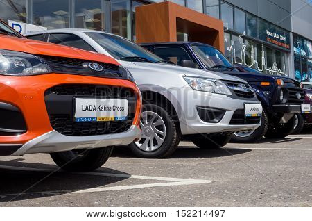 Voronezh, Russia - June 20, 2016: New Lada cars of different models are in front of the showroom SCS Lada Voronezh