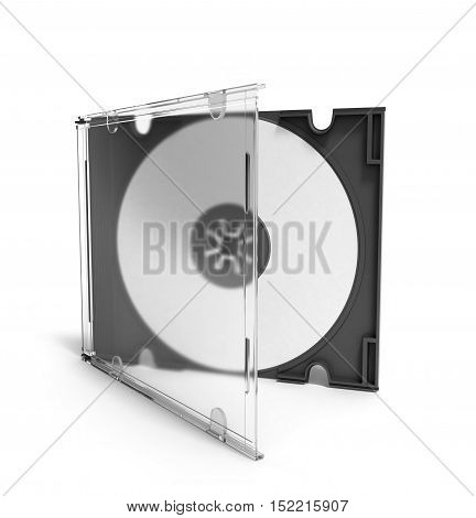 3D Cd Case Open On White Background