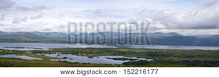panorama of the view from the kerry way route on the wild atlantic way in ireland
