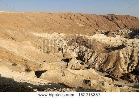 shore of the Dead Sea - the sea of Sodom in the Judean Desert in Israel
