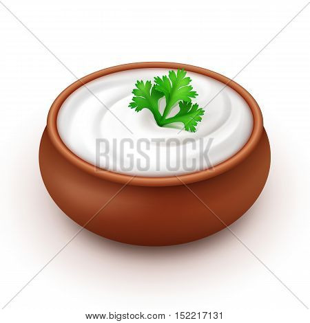 Ceramic Pot of Sour Cream Sauce Mayonnaise with Green Parsley Close up Isolated on White Background