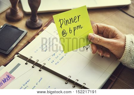 Dinner Appointment Organize Plan List Manage Concept