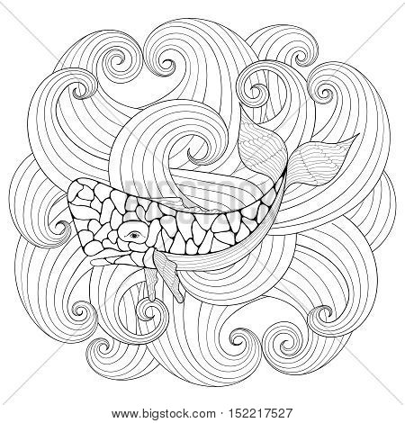 Sperm Whale in waves, zentangle style. Freehand sketch for adult coloring page with doodle elements. Ornamental artistic vector illustration for tattoo, t-shirt print. Sea and ocean animal collection.