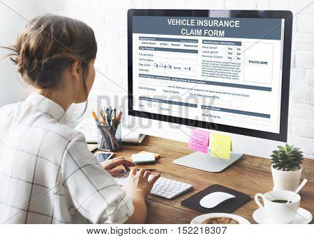Vehicle Insurance Claim Form Benefit Concept