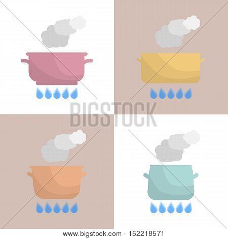 Set of boiling pot on the gas stove. Kitchen utensils. Vector Illustration.