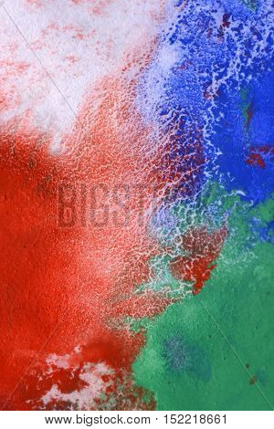 streaks of red blue green paint mixed on a white background