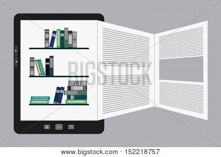 Vector illustration of a portable modern tablet  e-book reader with book pages.