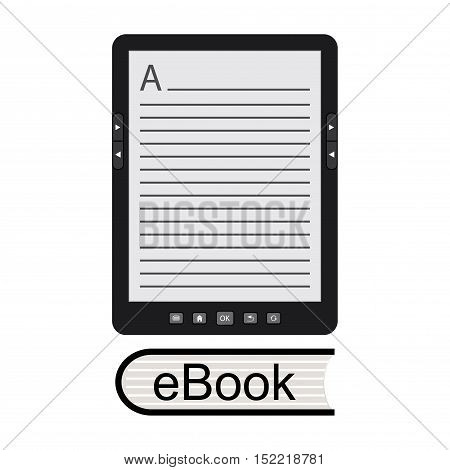portable modern tablet  e-book reader, isolated on white background, stock vector illustration