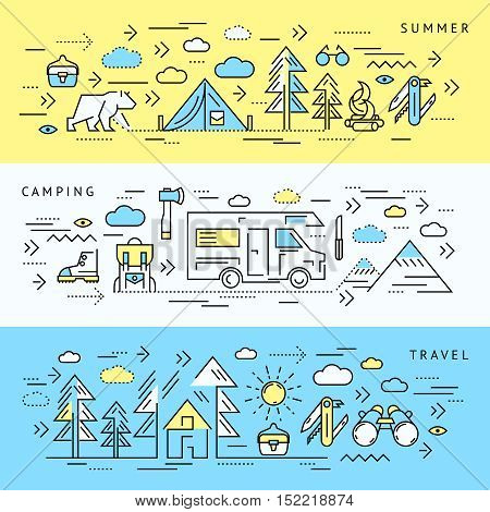 Three horizontal colored camping banner set with summer camping and travel headlines vector illustration
