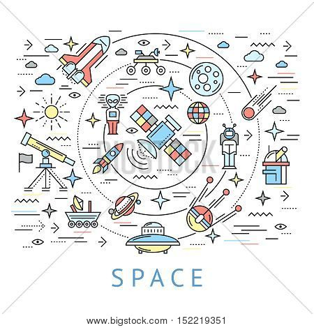 Space line round composition with big circle and cosmic icon set flying around vector illustration