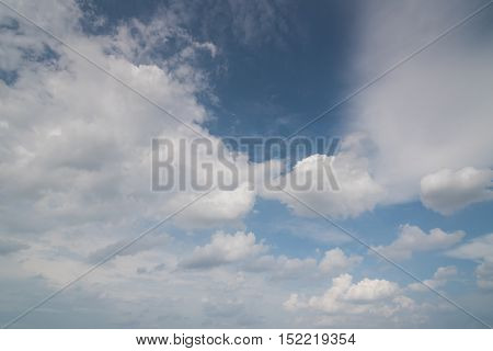 Blue sky background with a white clouds in a sunny day.