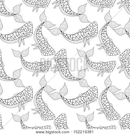 Azores Sperm Whale seamless pattern in Zentangle style. Freehand sketch for adult coloring page. Ornamental artistic vector illustration for t-shirt print, fabric. Sea and ocean animal collection.