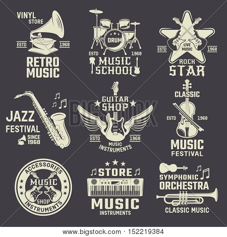 Music school and shops monochrome emblems with wind and string instruments on black background isolated vector illustration