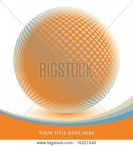 Colorido digital Globo de dólar, com espaço de texto.