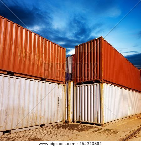 The container is neatly placed on the yard.