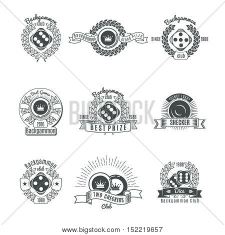 Backgammon clubs vintage style emblems with chips and dice laurel wreaths ribbons and rays isolated vector illustration