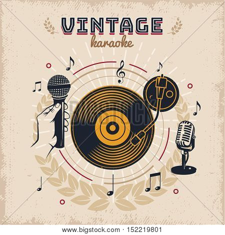 Karaoke vintage style design with elements of sound equipment musical signs on worn beige background vector illustration