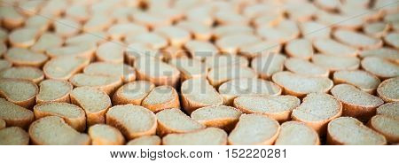 Crackers on the production line at the bakery .
