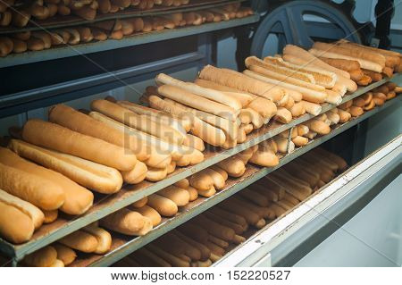 Baked Breads on the production line at the bakery.