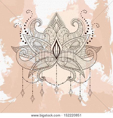 Boho ornamental lotus flower, henna tattoo design, Indian paisley. Hand drawn Vector illustration. Mystical, astrology, ritual, bohemian, yoga symbol in zentangle style.