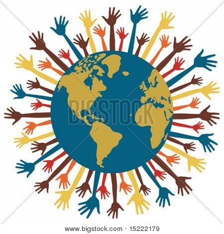 Many hands of the world vector.