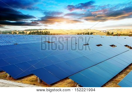 In the evening when the solar panels