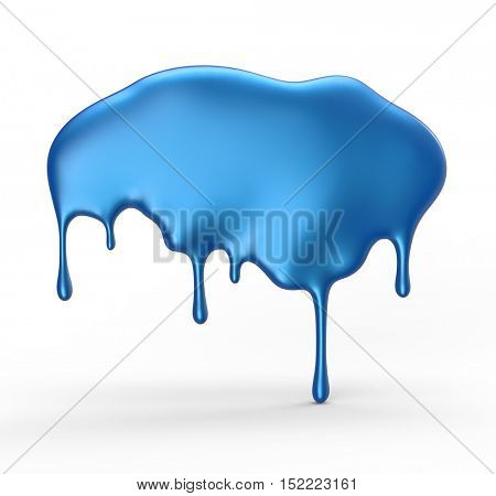 Blue paint dripping isolated over white background. 3D