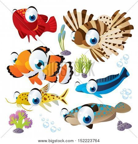 cute vector cartoon fish collection. colorful illustrations of sea life animals. Flounder, catfish, clown fish, tilefish, zebra fish