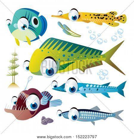 cute vector cartoon fish collection. colorful illustrations of sea life animals. mahi-mahi, gar, angler, herring, barracuda
