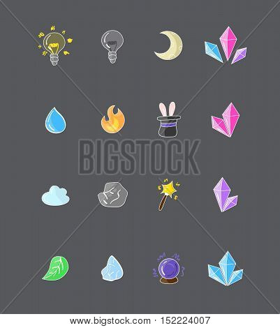 Set of colorful game elements, set full of useful icons such as water, fire, crystals and other more