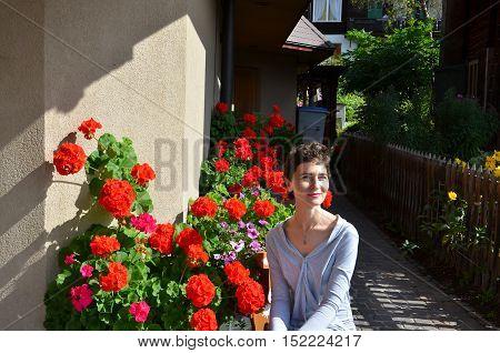 Fashion Brunette short hair Model Girl Portrait Smiling woman.