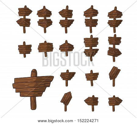Simple set of wooden plates can be symbols , icons, directions and so on,