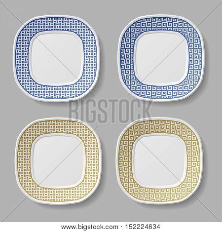 squared ornamental plates vector