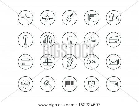 Simple set for any kind of clothes store or for orders on the web site, shopping discounts all icons are perfect understandable.